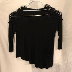 Zaful Plus Size 5XL Blouse Black Crochet Lace 850